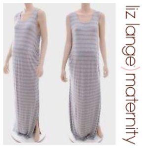 Liz Lange Maternity Gray Stripe maxi dress Large